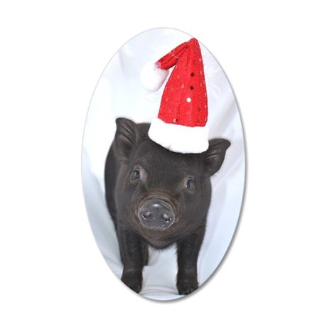 Micro pig with Santa hat 35x21 Oval Wall Decal