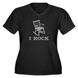 I ROCK Women's Plus Size V-Neck Dark T-Shirt