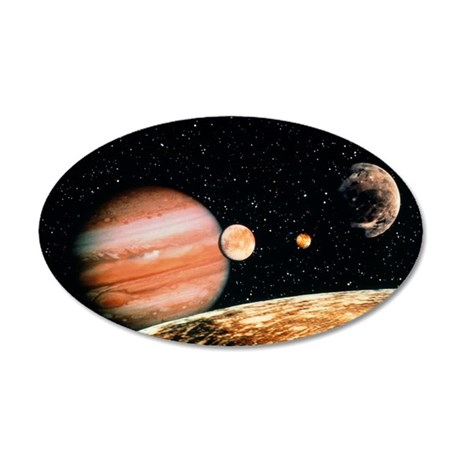 Jupiter and the Galilean moo 35x21 Oval Wall Decal