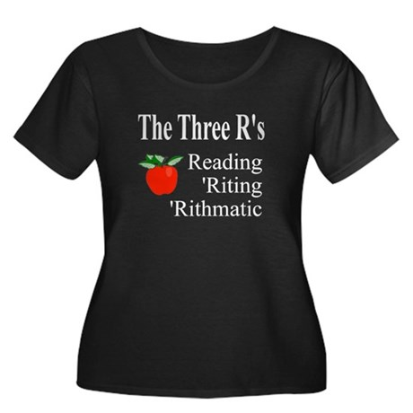 The Three R's Women's Plus Size Scoop Neck Dark T-