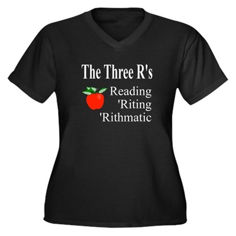 The Three R's Women's Plus Size V-Neck Dark T-Shir