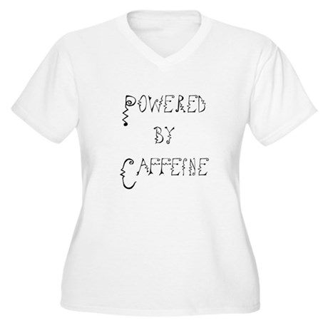 Powered by Caffeine Women's Plus Size V-Neck T-Shi