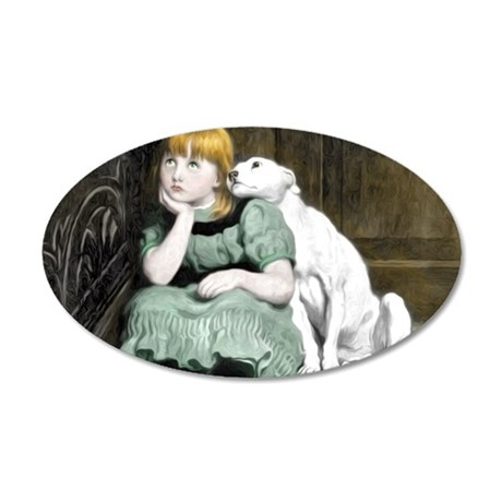 Dog Adoring Girl Victorian P 20x12 Oval Wall Decal