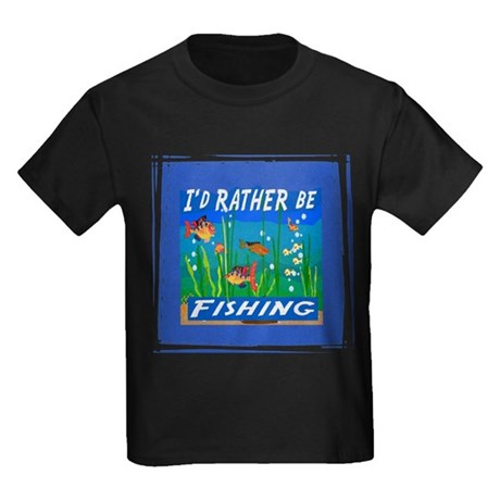 Rather be Fishing Kids Dark T-Shirt