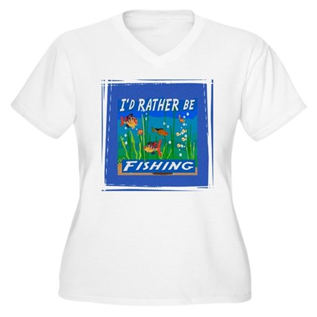 Rather be Fishing Women's Plus Size V-Neck T-Shirt