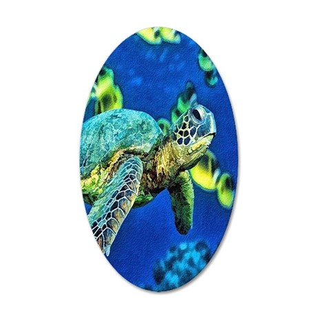 green sea turtle 35x21 Oval Wall Decal