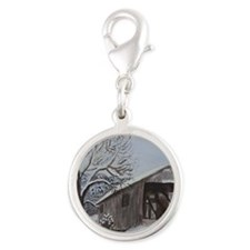 Covered Bridge Silver Round Charm