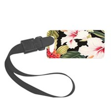 Black Retro Hawaii Hibiscus Small Luggage Tag
