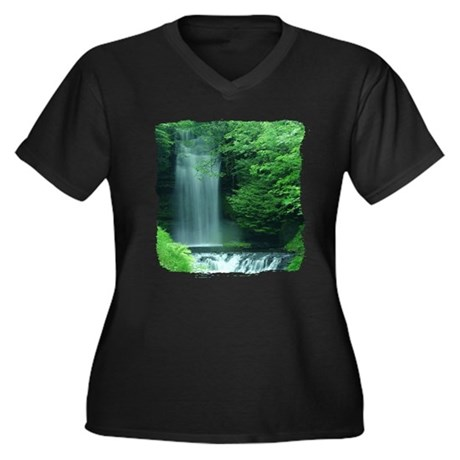 Waterfalls Women's Plus Size V-Neck Dark T-Shirt