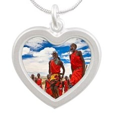 Two Maasai Warriors Jumping. Silver Heart Necklace