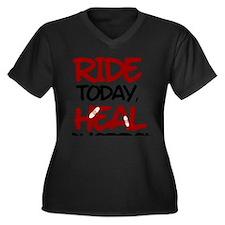 Heal Tomorro Women's Plus Size Dark V-Neck T-Shirt