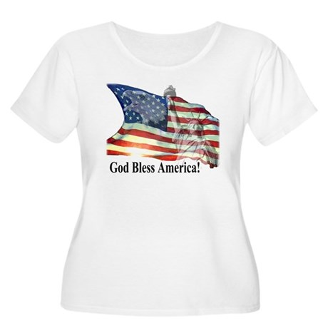 God Bless America! Women's Plus Size Scoop Neck T-