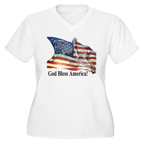 God Bless America! Women's Plus Size V-Neck T-Shir