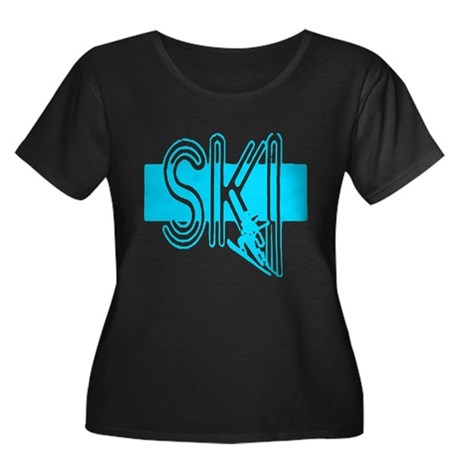Ski Powder Blue Women's Plus Size Scoop Neck Dark