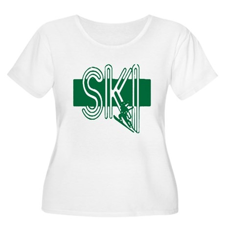 Ski Green Women's Plus Size Scoop Neck T-Shirt