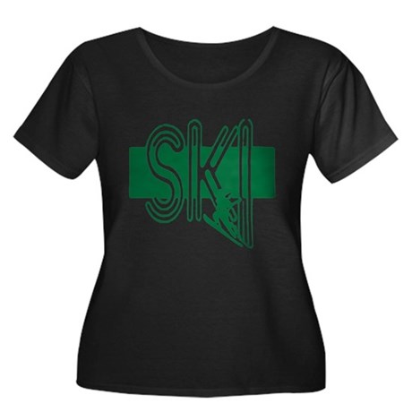 Ski Green Women's Plus Size Scoop Neck Dark T-Shir