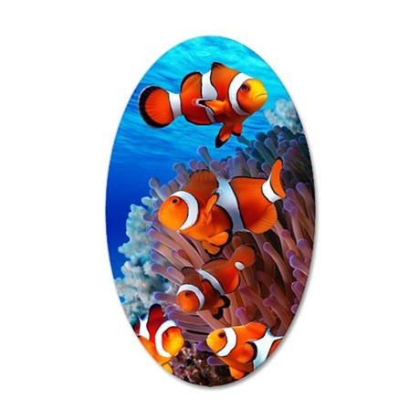 CLOWN NEMO CORAL REEF 35x21 Oval Wall Decal