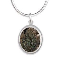 Christmas Tree - Rockefeller  Silver Oval Necklace