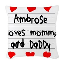 Ambrose Loves Mommy and Daddy Woven Throw Pillow