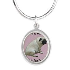 My Dog is Not Fat Pug Silver Oval Necklace