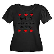Brendon  Women's Plus Size Dark Scoop Neck T-Shirt