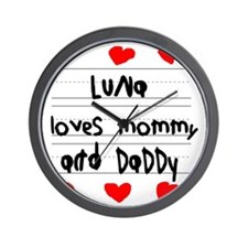 Luna Loves Mommy and Daddy Wall Clock