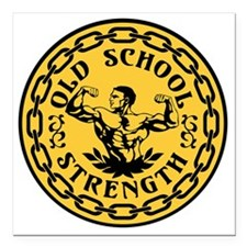 "Old School Strength Vint Square Car Magnet 3"" x 3"""