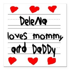 "Delena Loves Mommy and D Square Car Magnet 3"" x 3"""