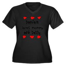 Damian Loves Women's Plus Size Dark V-Neck T-Shirt