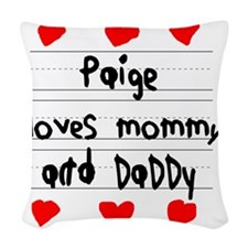 Paige Loves Mommy and Daddy Woven Throw Pillow