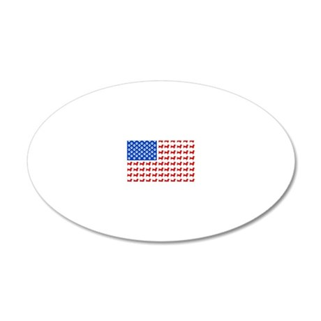 Dachshund USA - Patriotic Fl 20x12 Oval Wall Decal