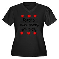 Rodolfo Love Women's Plus Size Dark V-Neck T-Shirt