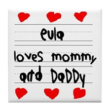 Eula Loves Mommy and Daddy Tile Coaster
