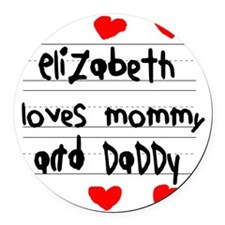 Elizabeth Loves Mommy and Daddy Round Car Magnet