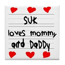 Suk Loves Mommy and Daddy Tile Coaster
