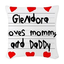 Glendora Loves Mommy and Daddy Woven Throw Pillow