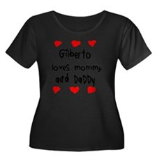 Gilberto Women's Plus Size Dark Scoop Neck T-Shirt