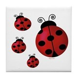 Four ladybugs Tile Coaster