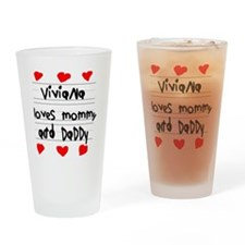 Viviana Loves Mommy and Daddy Drinking Glass