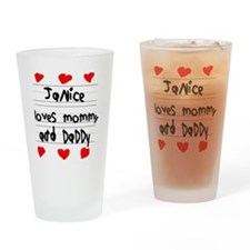Janice Loves Mommy and Daddy Drinking Glass