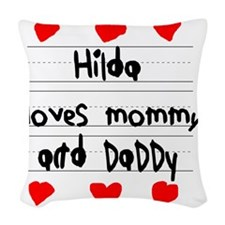 Hilda Loves Mommy and Daddy Woven Throw Pillow