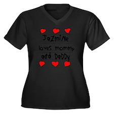 Jazmine Love Women's Plus Size Dark V-Neck T-Shirt