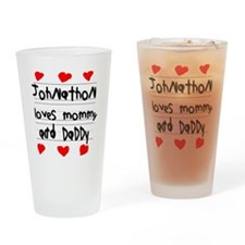 Johnathon Loves Mommy and Daddy Drinking Glass