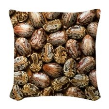 Seeds of the castor oil plant Woven Throw Pillow