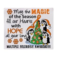 D Multiple Sclerosis Holiday Penguin Throw Blanket