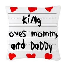 King Loves Mommy and Daddy Woven Throw Pillow