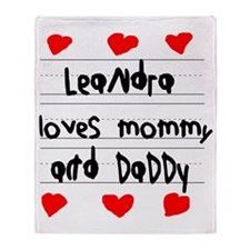 Leandra Loves Mommy and Daddy Throw Blanket