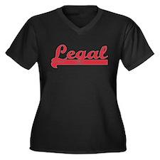 Red Legal Women's Plus Size V-Neck Dark T-Shirt
