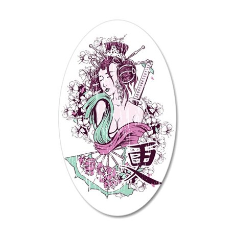 Geisha Girl 35x21 Oval Wall Decal