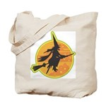 Witch on Broomstick Halloween Candy Tote Bag
